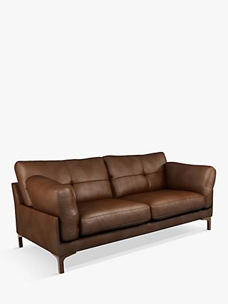 John Lewis & Partners Java II Medium 2 Seater Leather Sofa, Dark Leg