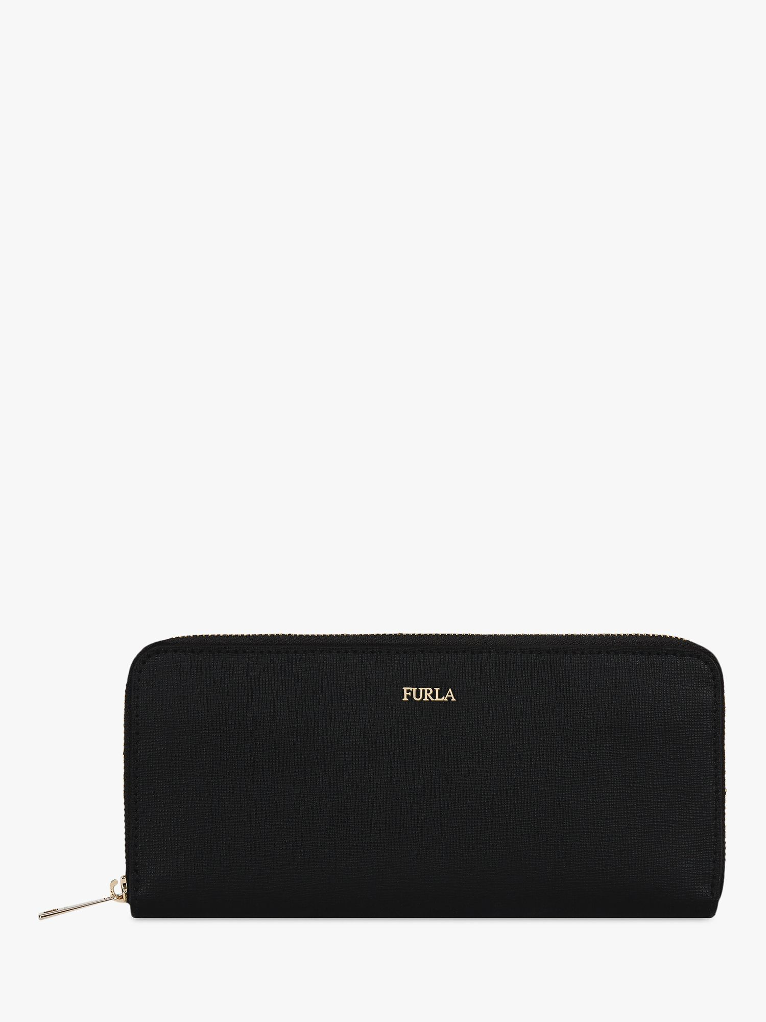 Furla Furla Babylon Leather Zip Around Purse, Black