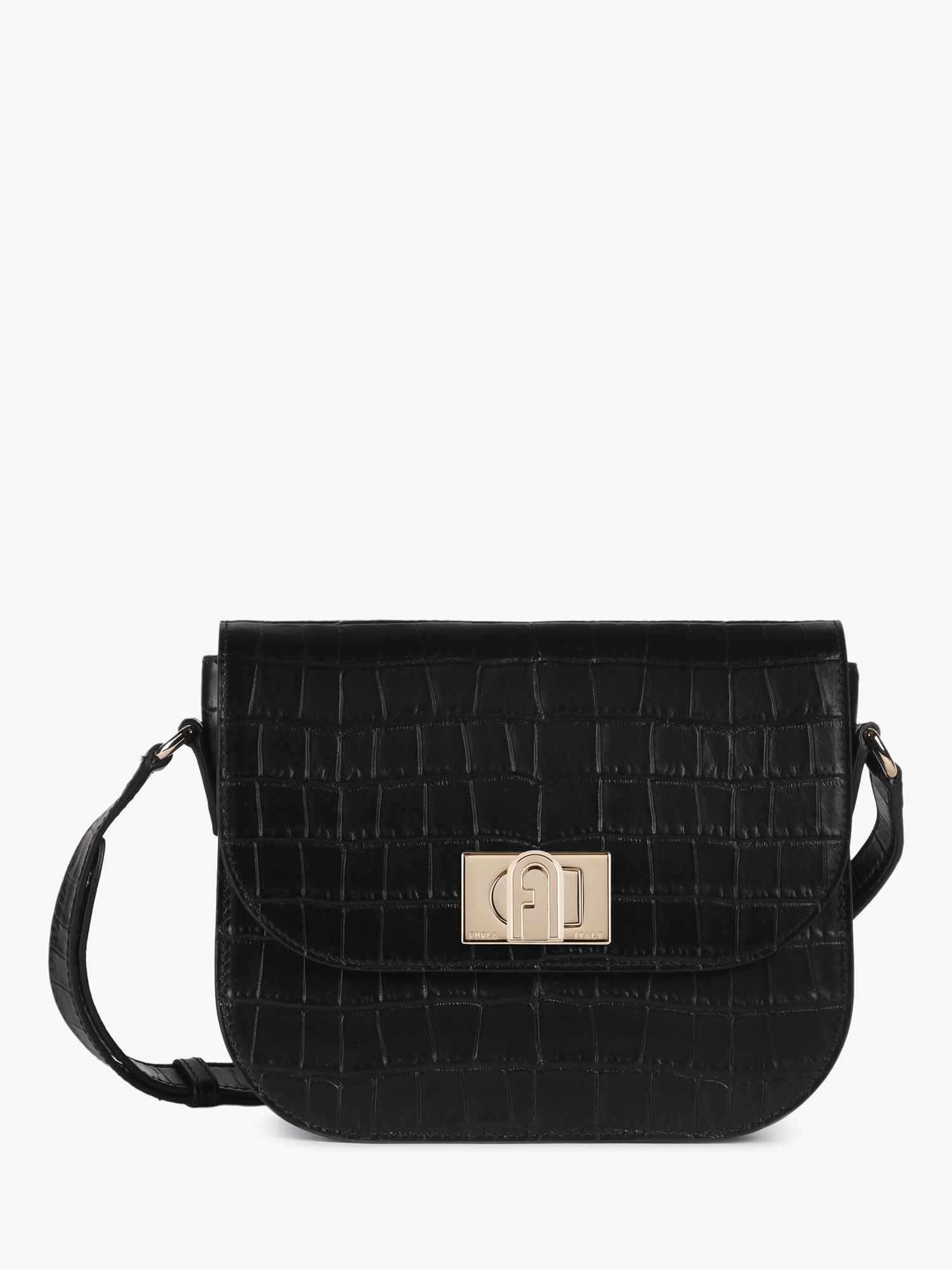 Furla Furla 1927 Leather Shoulder Bag, Snake Black