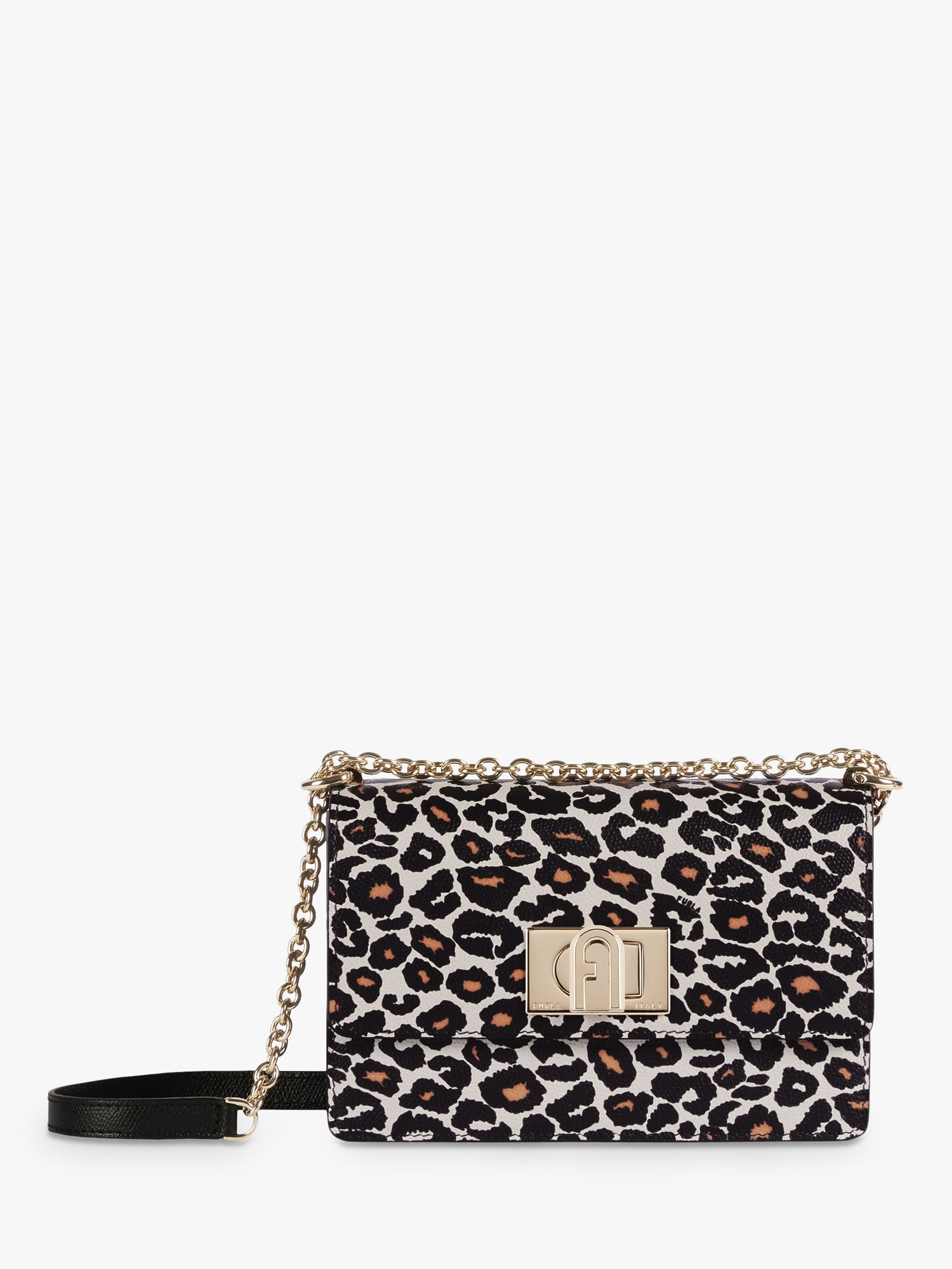 Furla Furla 1927 Small Leather Crossbody Bag, Leopard Black