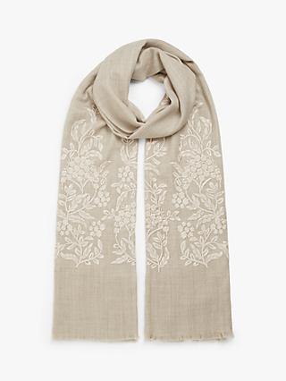 Modern Rarity Wool and Silk Filigree Bloom Embroidery Scarf, Oatmeal