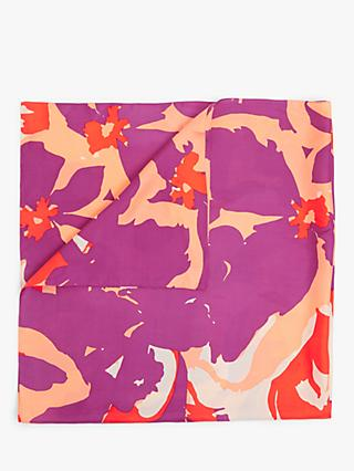 John Lewis & Partners Tropical Square Silk Scarf, Multi