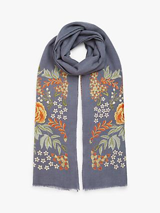 Modern Rarity Wool and Silk Bloom Embroidery Scarf, Multi