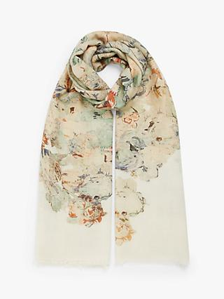 Modern Rarity Wool and Silk Water Garden Bloom Scarf, Multi