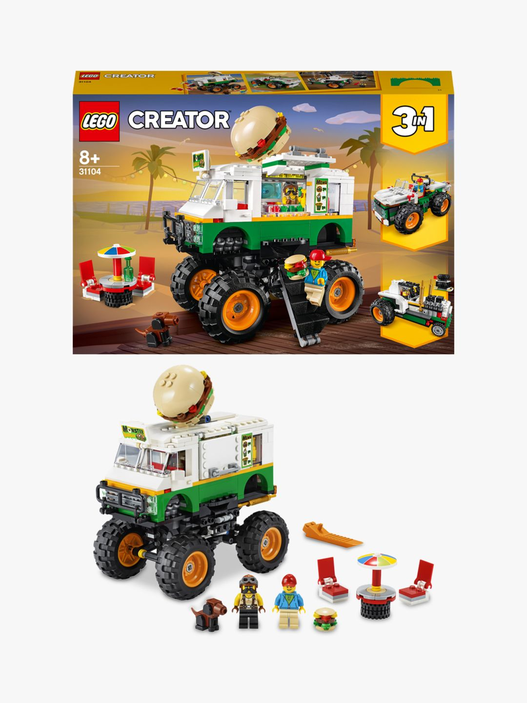 Lego Creator 31104 3 In 1 Monster Burger Truck Offroader Tractor At John Lewis Partners