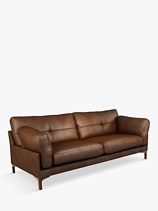 John Lewis & Partners Java II Large 3 Seater Leather Sofa, Dark Leg