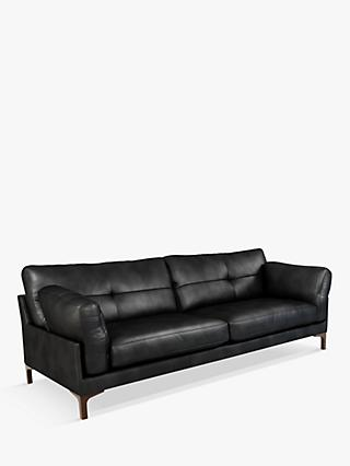 John Lewis & Partners Java II Grand 4 Seater Leather Sofa, Dark Leg