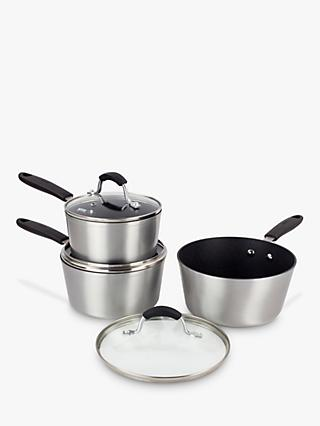 Eaziglide Neverstick Non-Stick Saucepan Set and Glass Lids, 3 Piece