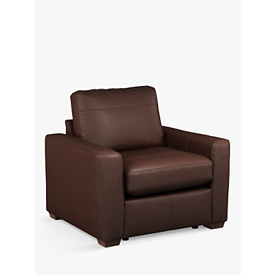 House by John Lewis Oliver Leather Armchair, Dark Leg