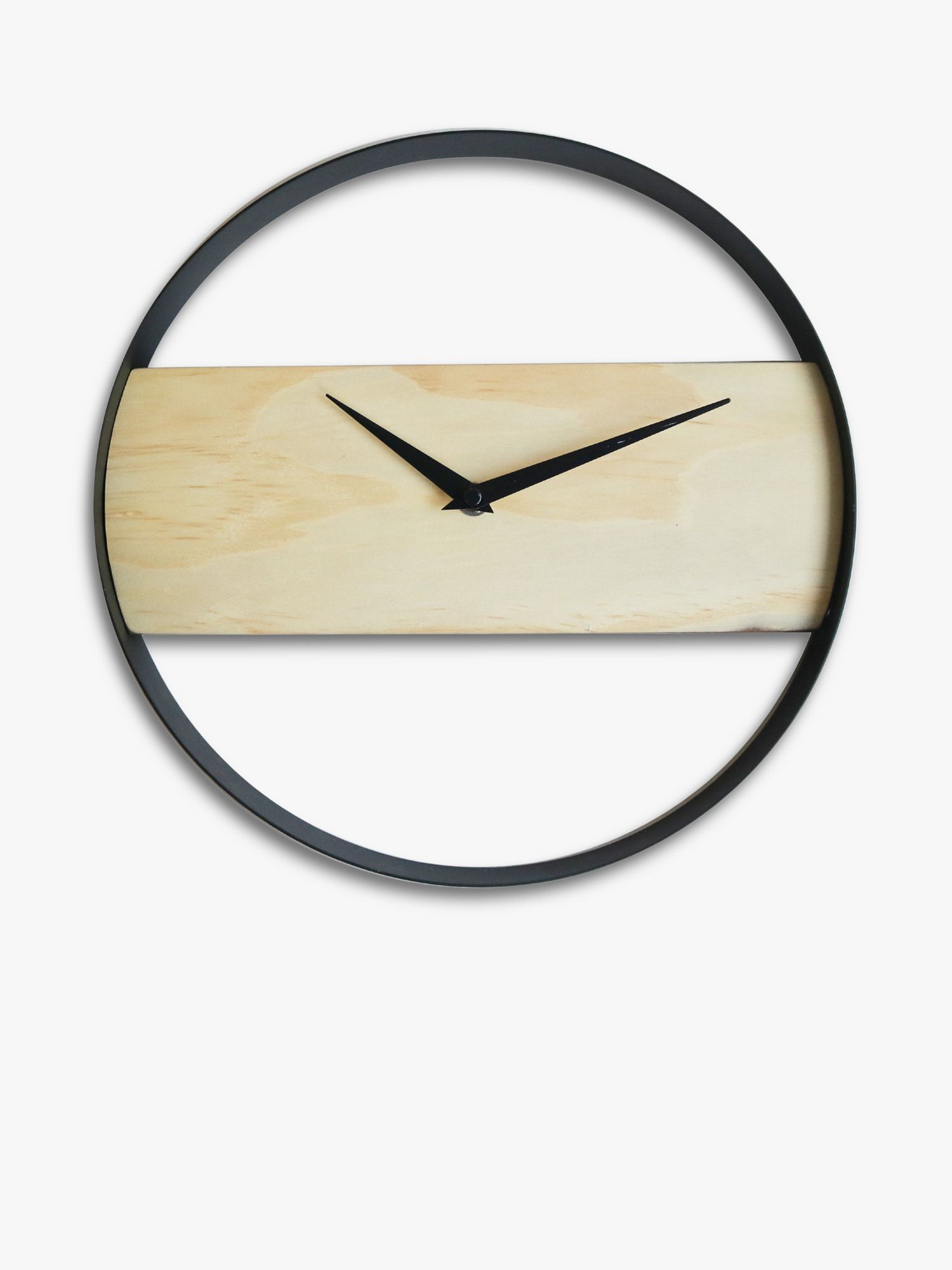 Brookpace Brookpace Modern Wood Band Wall Clock, 30cm, Natural/Black