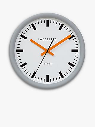 Lascelles Swiss Station Sweep Wall Clock, 30cm, Grey/Orange