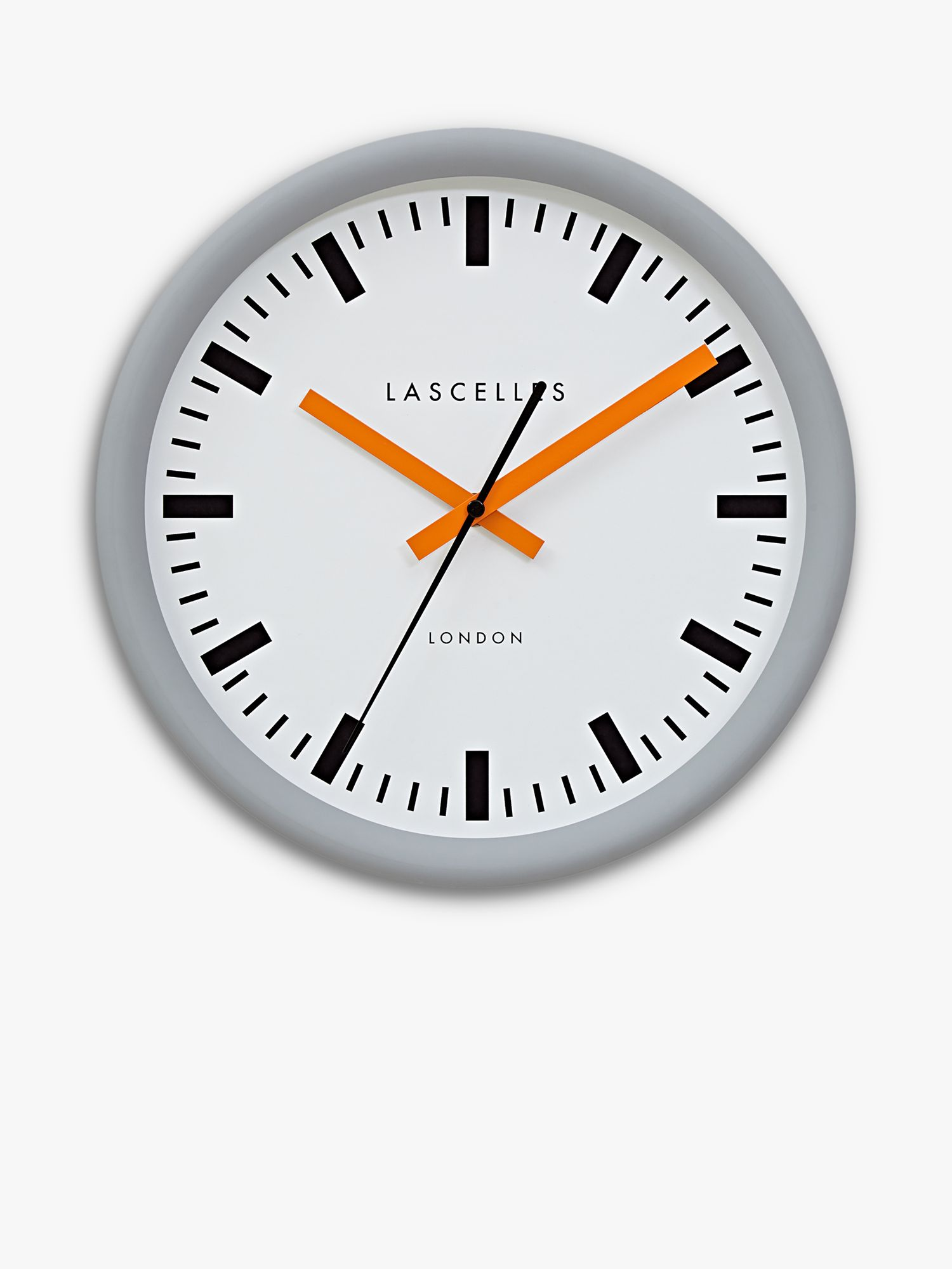 Brookpace Brookpace Swiss Station Sweep Wall Clock, 30cm, Grey/Orange