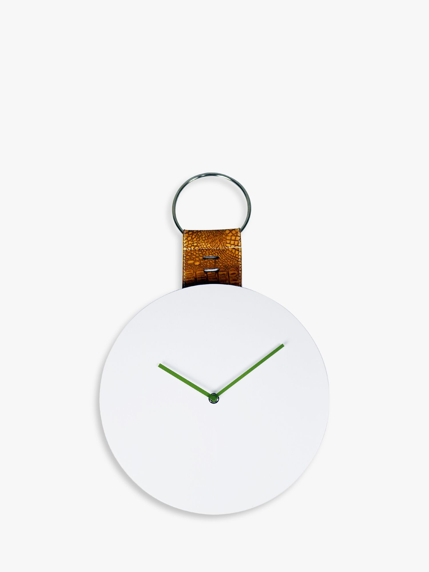 Brookpace Brookpace Modern Wood Leather-Effect Hanging Wall Clock, 30cm, White/Natural