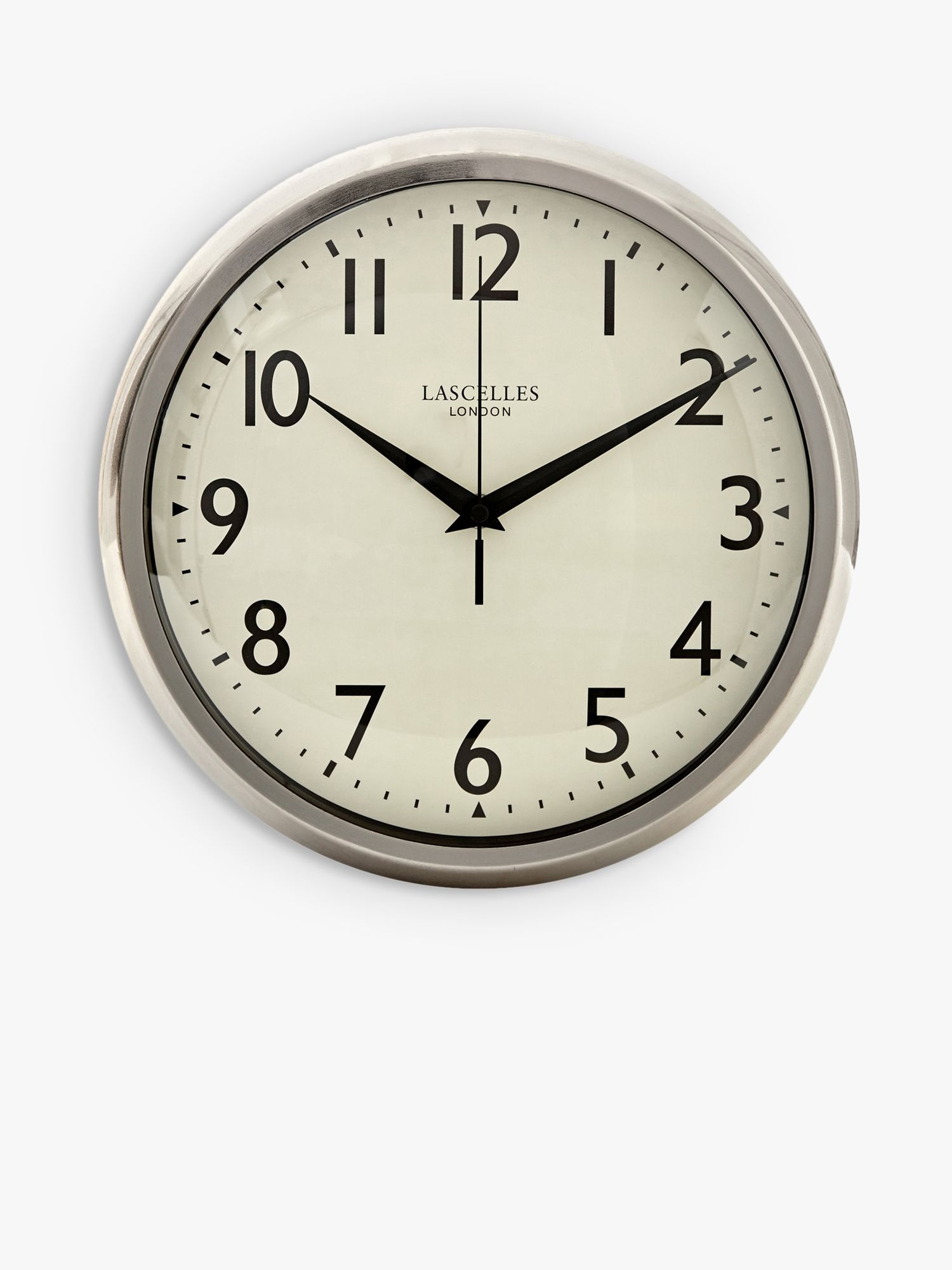Brookpace Brookpace Lascelles Retro Sweep Wall Clock, 30cm, Silver/Chrome