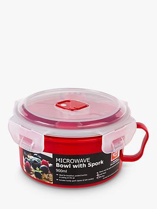 good2heat PLUS Microwave Lidded Bowl & Spork, 900ml, Red/Clear