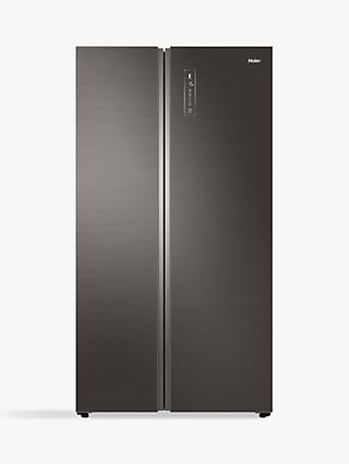 Haier HRF-800DGS7 American-Style Freestanding 60/40 Fridge Freezer, 100.5cm Wide, A++ Energy Rating, Silver