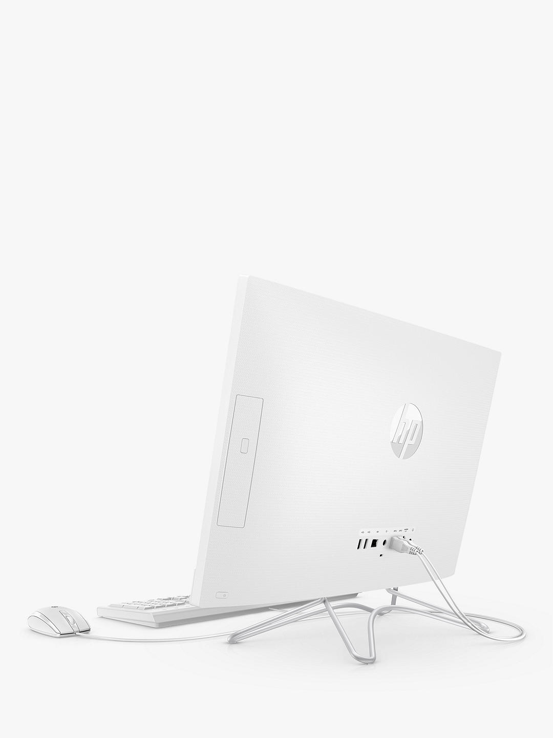 "Buy HP 24-f1027na All-in-One Desktop PC, AMD Ryzen 5 Processor, 8GB RAM, 1TB HDD + 256GB SSD, 23.8"" Full HD Non Touch, Snow White Online at johnlewis.com"