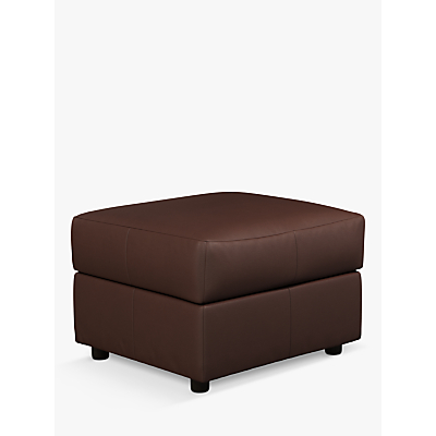 House by John Lewis Oliver Modular Leather Storage Stool Unit, Dark Leg