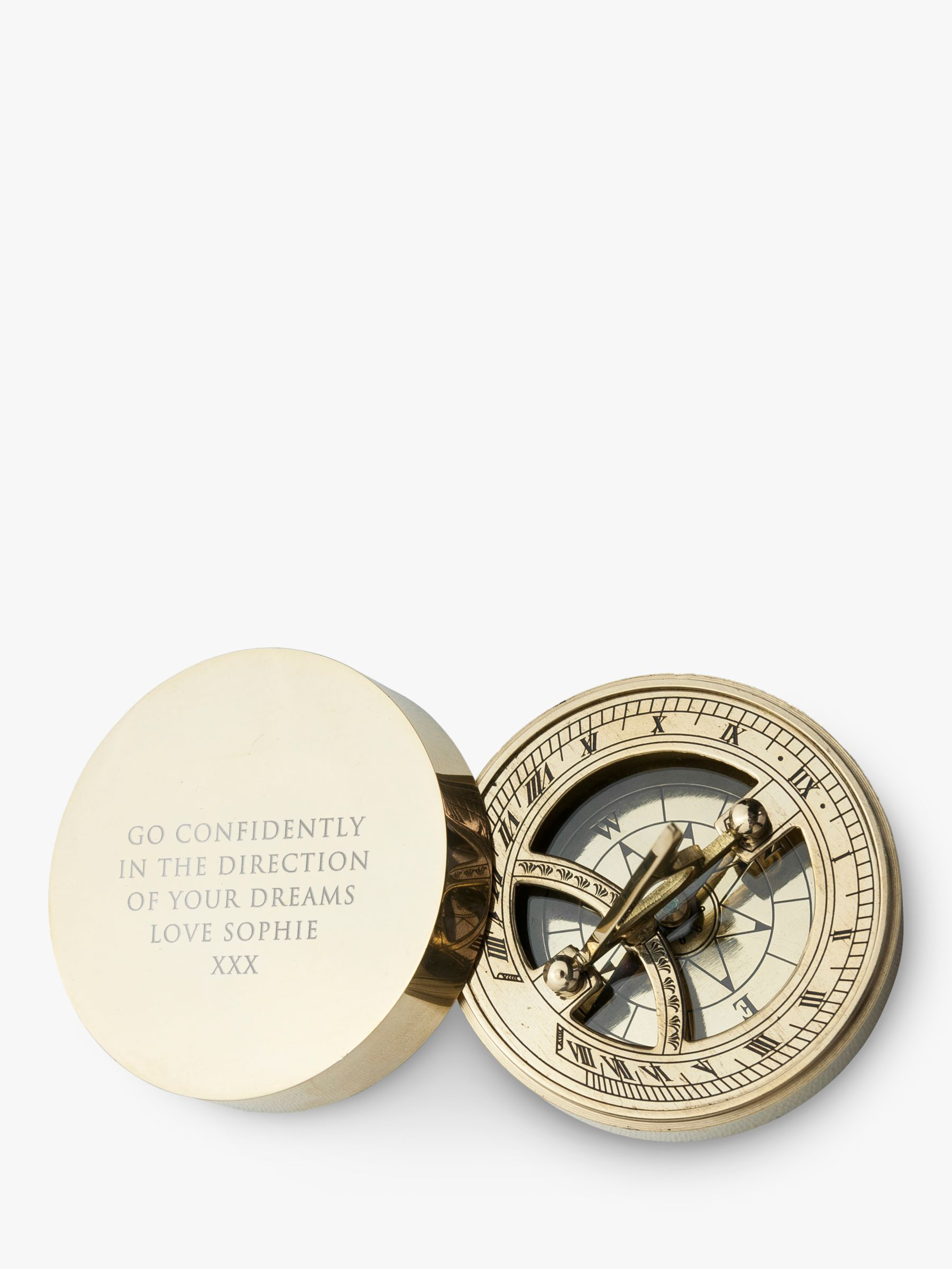 Treat Republic Personalised Brass Sundial & Compass