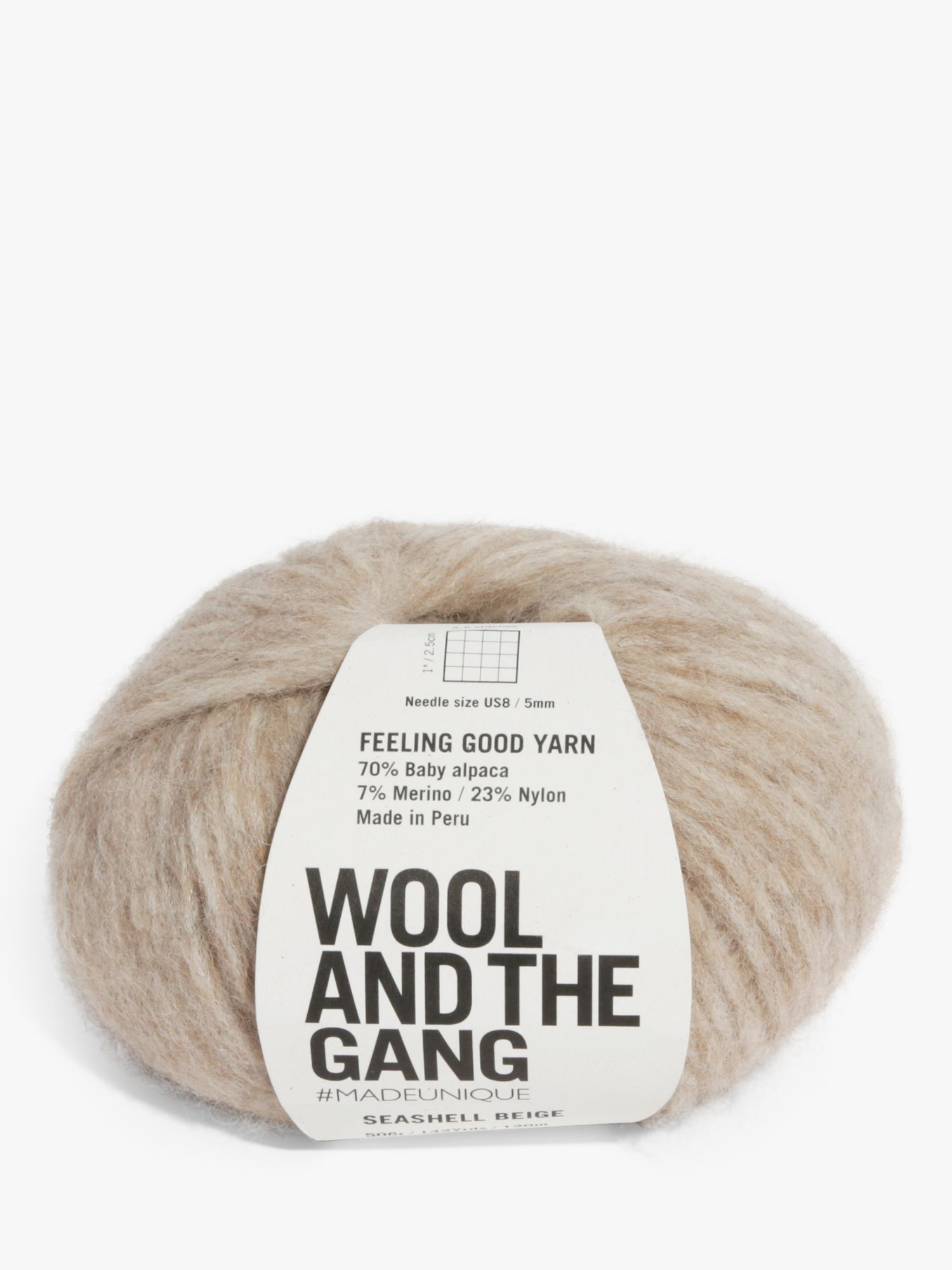 Wool and the Gang Wool And The Gang Feeling Good Seashell Yarn, 50g, Biege