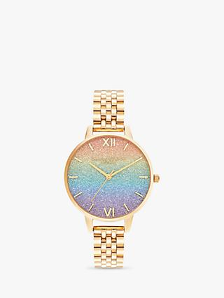 Olivia Burton OB16RB23 Women's Rainbow Bracelet Strap Watch, Gold/Multi