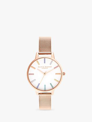 Olivia Burton OB16RB24 Women's Rainbow Mesh Bracelet Strap Watch, Rose Gold/White
