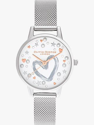 Olivia Burton OB16LH12 Women's You Have My Heart Mesh Bracelet Strap Watch, Silver/Multi