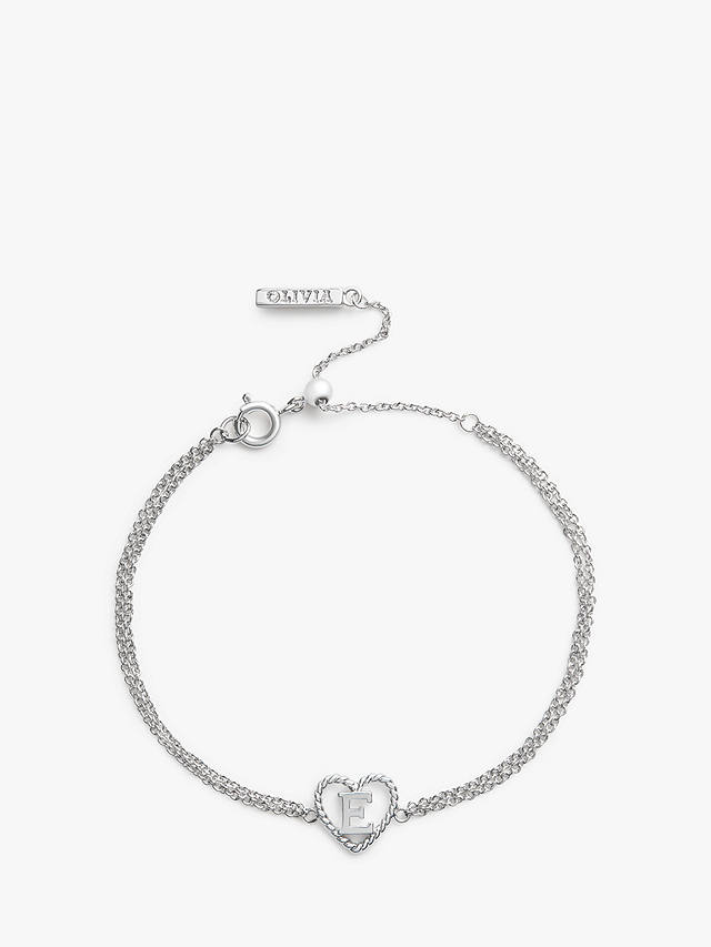 Buy Olivia Burton Heart Initial Double Chain Bracelet, E OBJIHBE01 Online at johnlewis.com