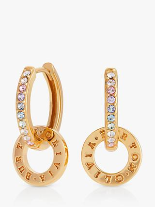 Olivia Burton Swarovski Crystal Circle Drop Hoop Earrings, Gold OBJRBE02