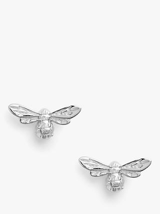 Olivia Burton Textured Bee Stud Earrings, Silver OBJAME22N