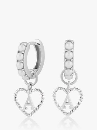 Olivia Burton Faux Pearl Initial Heart Drop Hoop Earrings