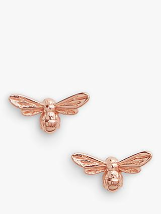 Olivia Burton Textured Bee Stud Earrings, Rose Gold OBJAME24N