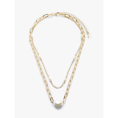 John Lewis & Partners Double Layer Pearl and Faux Pearl Chain Necklace, Gold