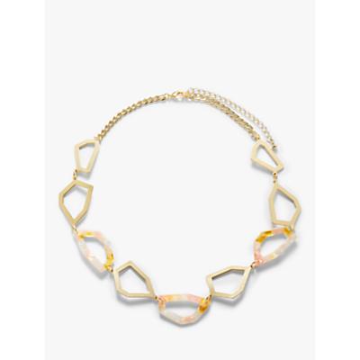John Lewis & Partners Irregular Link Statement Necklace, Gold/Multi