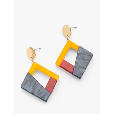 John Lewis & Partners Colour Block Square Drop Earrings, Multi