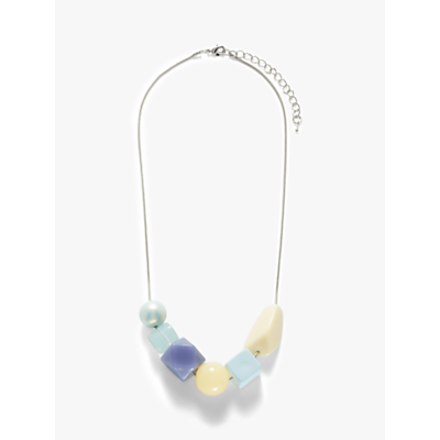 John Lewis & Partners Abstract Bead Short Necklace, Blue/Yellow