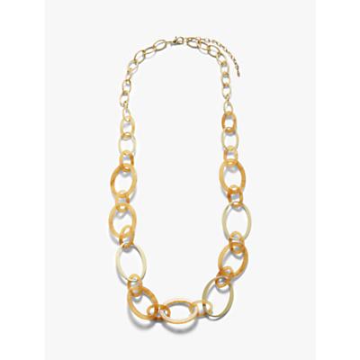 John Lewis & Partners Resin Link Long Necklace, Gold/Ochre