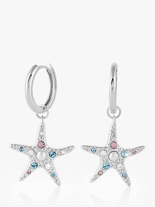 Olivia Burton Starfish Swarovski Crystal and Faux Pearl Hoop Earrings, Silver OBJSCE33