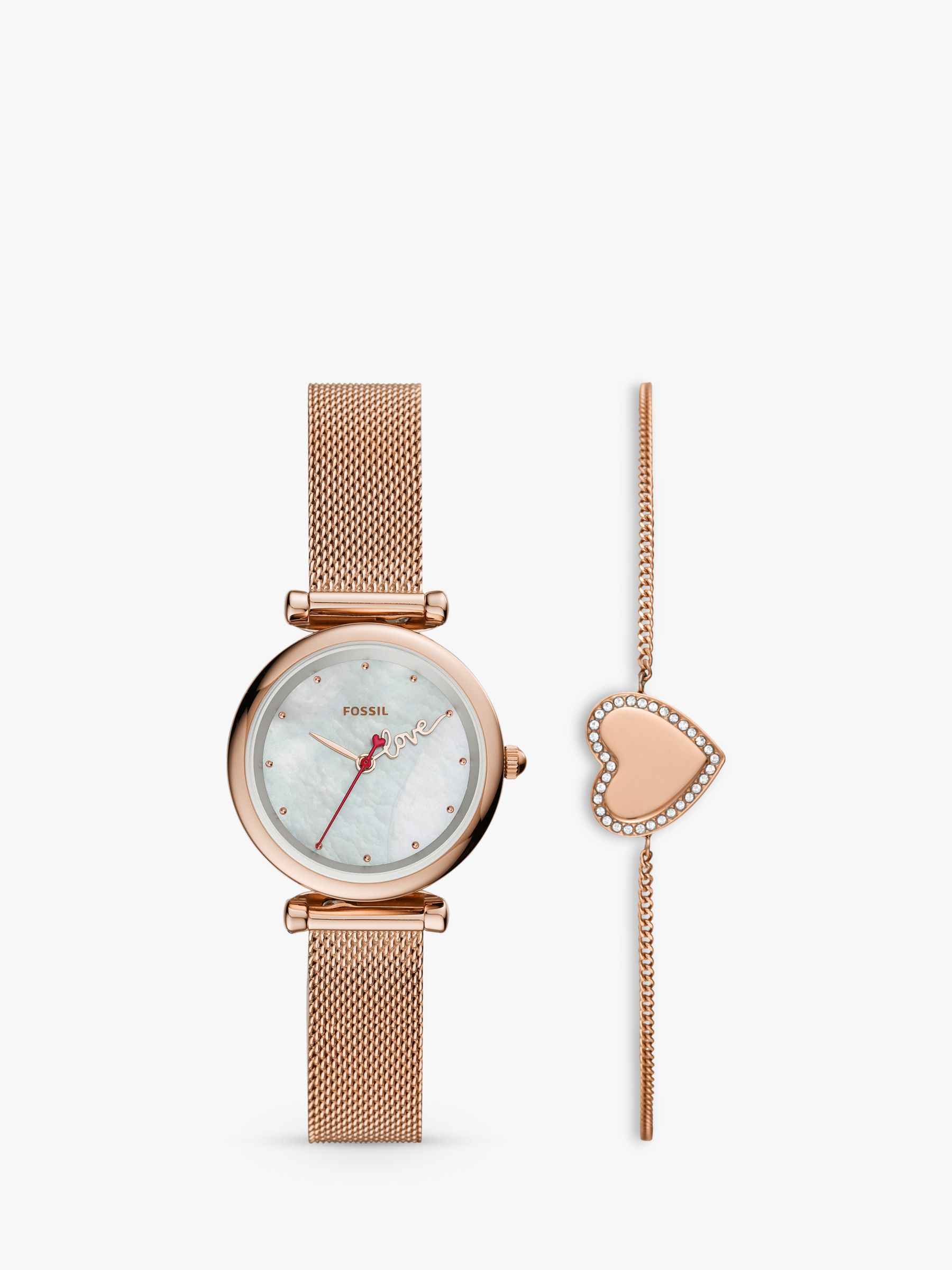 Fossil Fossil ES4867SET Women's Heart Chain Bracelet and Mesh Bracelet Strap Watch Gift Set, Rose Gold/Mother of Pearl