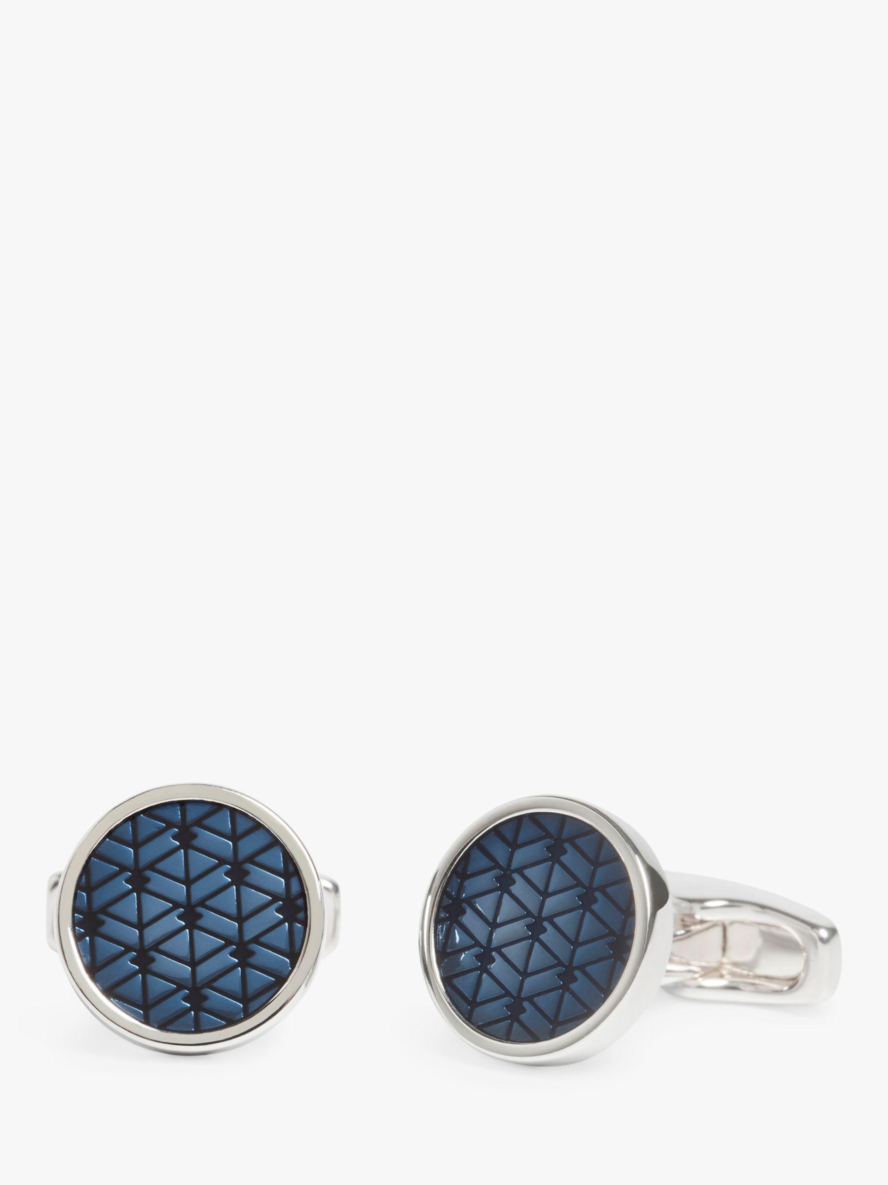 Simon Carter Simon Carter Diamond Pattern Button Cufflinks, Blue