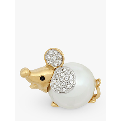 Eclectica Vintage 22ct Gold Plated Crystal and Pearl Mouse Brooch, Gold/White