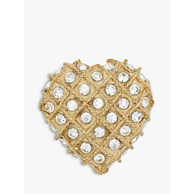 Eclectica Vintage Gold Plated Swarovski Crystal Heart Brooch, Gold