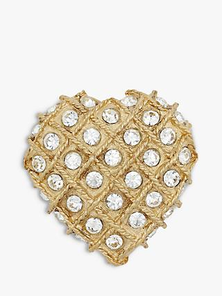 Eclectica Vintage Gold Plated Swarovski Crystal Heart Brooch, Gold