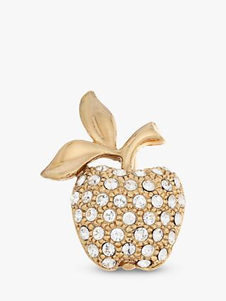 Eclectica Vintage 22ct Gold Plated Swarovski Crystal Apple Brooch, Gold