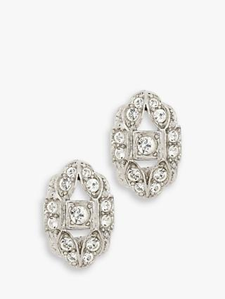 Eclectica Vintage Rhodium Plated Swarovski Crystal Oval Clip-On Earrings, Silver