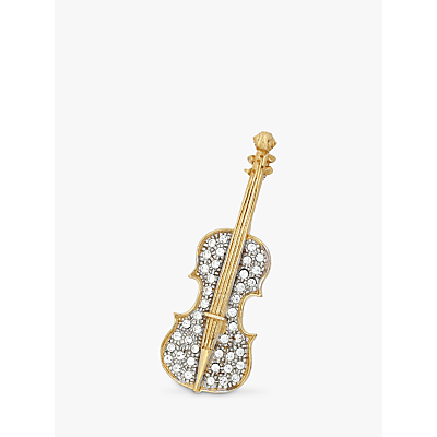 Eclectica Vintage Gold Plated Crystal Violin Brooch, Gold