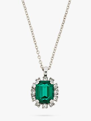 Eclectica Vintage 1980s Rhodium Plated Swarovski Crystal Pendant Necklace, Silver/Green