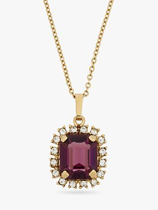 Eclectica Vintage 1980s Gold Plated Swarovski Crystal Pendant Necklace, Gold/Purple