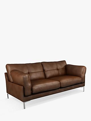 John Lewis & Partners Java II Medium 2 Seater Leather Sofa, Metal Leg