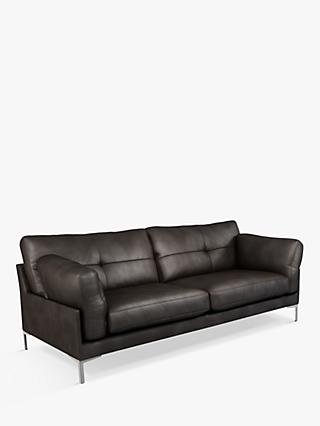 John Lewis & Partners Java II Large 3 Seater Leather Sofa, Metal Leg